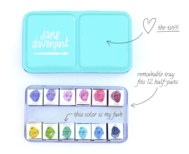 A photograph of the Jane Davenport turquoise watercolor tin, with the palette of 12 bright pan watercolors shown beside it.